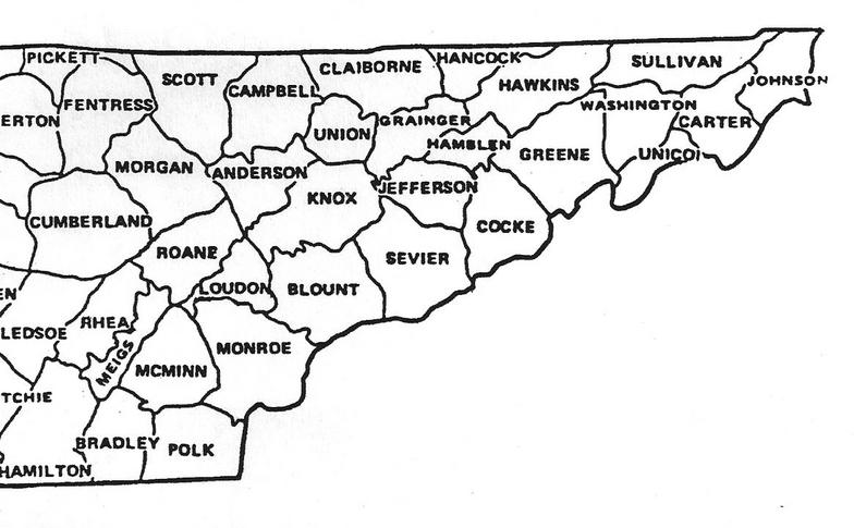 Counties - Map of tn counties