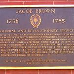 The Jacob Brown plaque on the Washington County Courthouse.